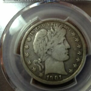1901 O  F 12 PCGS  BARBER HALF DOLLAR   LITY AND HALF  OF BER  LOOKS F VF
