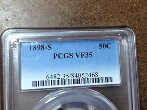 PCGS  VF 35 1898 S  BARBER HALF DOLLAR   FULL LIBERTY   TOUGH DATE