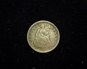 HS&C: 1853 ARROWS LIBERTY SEATED HALF DIME F/VF   US COIN