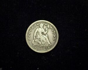 HS&C: 1854 ARROWS LIBERTY SEATED HALF DIME F   US COIN