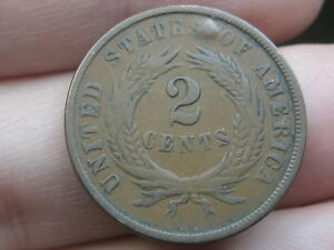 1864 TWO 2 CENT PIECE  LARGE MOTTO VF DETAILS PARTIAL WE