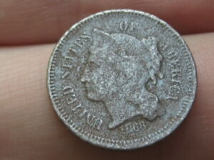 1868 THREE 3 CENT NICKEL  CIVIL WAR TYPE COIN  FIRE DAMAGED?