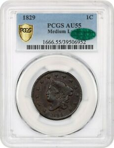 Click now to see the BUY IT NOW Price! 1829 1C PCGS/CAC AU55  MEDIUM LETTERS  PERFECT AU   PERFECT AU