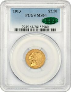 1913 $2 1/2 PCGS/CAC MS64   2.50 INDIAN GOLD COIN