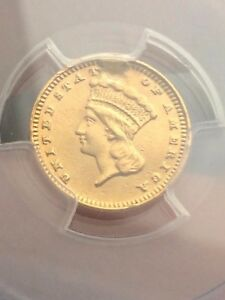 1869 $1 GOLD INDIAN PRINCESS ONE DOLLAR COIN  PCGS CERTIFIED XF DETAILS
