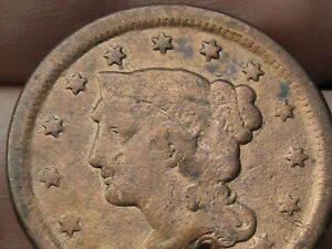 1847 BRAIDED HAIR LARGE CENT PENNY  VG DETAILS