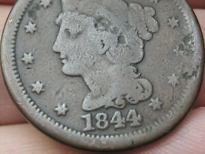 1844 BRAIDED HAIR LARGE CENT PENNY NORMAL DATE GOOD/VG DETAILS