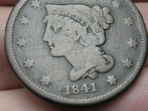 1841 BRAIDED HAIR LARGE CENT PENNY SMALL DATE VG/FINE DETAILS