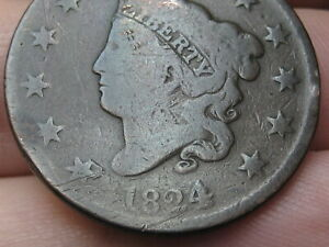 1824/2 MATRON HEAD LARGE CENT PENNY 4 OVER 2 OVERDATE GOOD DETAILS