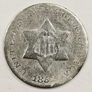 1852 3 CENT SILVER.  CIRCULATED.  154041
