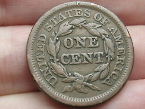 1848 BRAIDED HAIR LARGE CENT PENNY  VF DETAILS