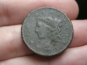 1837 MATRON HEAD LARGE CENT PENNY  PLAIN CORD SMALL LETTERS