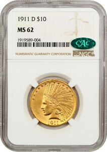 1911 D $10 NGC/CAC MS62   KEY DATE   INDIAN EAGLE   GOLD COIN   KEY DATE