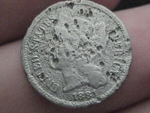 1881 THREE 3 CENT NICKEL  FULL DATE