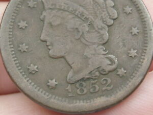 1852 BRAIDED HAIR LARGE CENT PENNY  FINE DETAILS