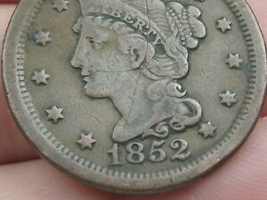 1852 BRAIDED HAIR LARGE CENT PENNY  FINE/VF DETAILS