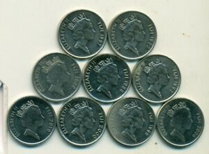 9   5 CENT COINS FROM FIJI  1990/1992/1995/1997/1998/2000/2006/2009/2010