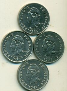 4 DIFFERENT 10 FRANC COINS FROM FRENCH POLYNESIA  1967 1973 1983 & 1984