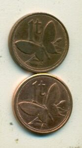 2   1 TOEA COINS W/ BUTTERFLY FROM PAPAU NEW GUINEA DATING 1995 & 2004