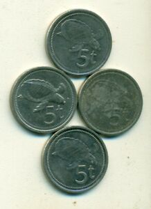 4   5 TOEA COINS W/ TURTLE FROM PAPAU NEW GUINEA  1975 2002 2005 & 2010