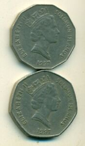 2 DIFFERENT COINS FROM THE SOLOMON ISLANDS   50 CENTS & 1 DOLLAR  BOTH 1997