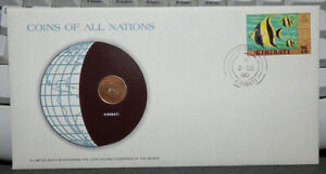 COINS OF ALL NATIONS KIRIBATI 1 CENT 1979 COIN & STAMP COVER FRIGATEBIRD