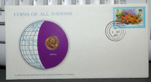 COINS OF ALL NATIONS TUVALU 1 CENT 1976 COIN & STAMP COVER W/ SPIDER CONCH