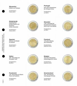LINDNER 1118 11 LEAVES INDIVIDUAL FOR COINS COMMEMORATIVE OF 2 EUR