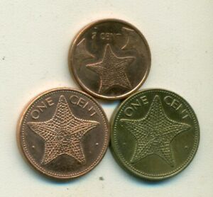 3   1 CENT COINS W/ STARFISH FROM THE BAHAMAS   1974 1998 & 2015  3 TYPES