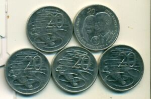 5   20 CENT COINS FROM AUSTRALIA  1999/2006/08/10/11 ..4 W/ DUCKBILLED PLATYPUS