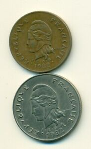 2 DIFFERENT COINS FROM FRENCH POLYNESIA   50 & 100 FRANCS  BOTH DATING 1982