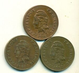 3 HIGH DENOMINATION 100 FRANC COINS FROM FRENCH POLYNESIA  1976 1984 & 1992