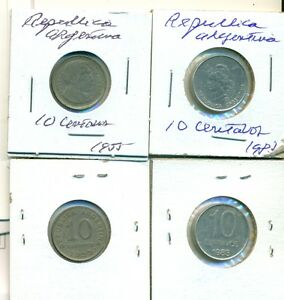 2 DIFFERENT 10 CENTAVO COINS FROM ARGENTINA   1955 & 1983  2 TYPES