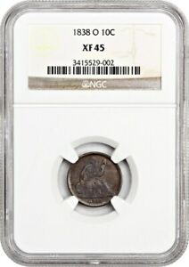 1838 O 10C NGC XF45  NO STARS   EARLY O MINT DIME   LIBERTY SEATED DIME