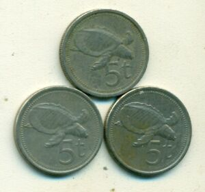 3 DIFFERENT 5 TOEA COINS W/ TURTLE FROM PAPAU NEW GUINEA  1987 1996 & 1998