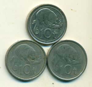 3 DIFFERENT 10 TOEA COINS W/ CUSCUS FROM PAPAU NEW GUINEA  1975 1996 & 2002