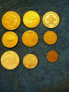LOT OF 9 MISCELLANEOUS COLLECTABLE COINS & TOKENS