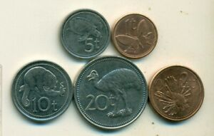 5 COINS FROM PAPAU NEW GUINEA  2004 1T/2002 2T/2002 5T/2010 10T/2009 20T