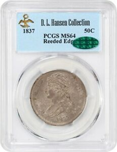 1837 50C PCGS/CAC MS64  REEDED EDGE  EX: D.L. HANSEN   BUST HALF DOLLAR
