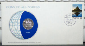 COINS OF ALL NATIONS ICELAND 10 KRONUR 1978 COIN & STAMP COVER
