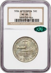 1936 WISCONSIN 50C NGC/CAC MS66   SILVER CLASSIC COMMEMORATIVE