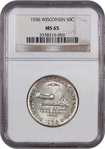 1936 WISCONSIN 50C NGC MS65   SILVER CLASSIC COMMEMORATIVE