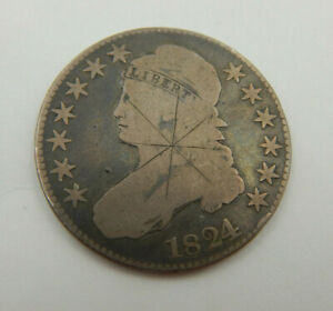 1824 BUST HALF DOLLAR GOOD CONDITION SCRATCHED   15/902
