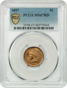Click now to see the BUY IT NOW Price! 1897 1C PCGS MS67 RD   GORGEOUS    INDIAN CENT   GORGEOUS