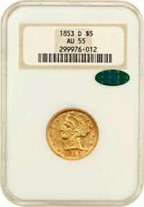 1853 D $5 NGC/CAC AU55  LARGE D OH  POPULAR &    POPULAR &