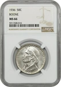 1936 BOONE 50C NGC MS66   LOW MINTAGE ISSUE   SILVER CLASSIC COMMEMORATIVE