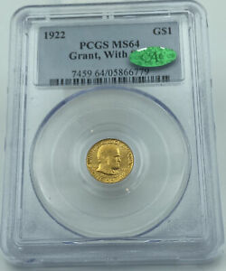 1922 PCGS & CAC MS64 GRANT WITH STAR COMMEMORATIVE GOLD DOLLAR $1