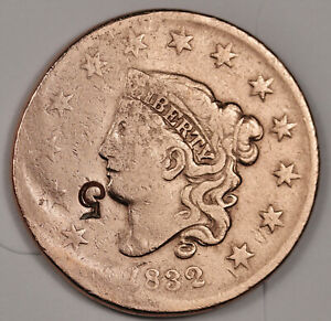 1832 LARGE CENT.  COUNTER STAMPED