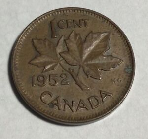1952 CANADIAN SMALL CENT CANADA COPPER PENNY GEORGE VI COIN BIN