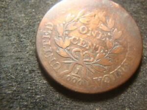 1801  1/000 ERROR FRACTION DRAPED BUST LARGE CENT COIN BOLD T2X 2